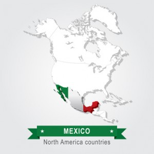 Mexico. All the countries of North America. Flag version.
