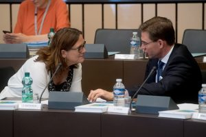 Discussion between Jyrki Katainen, on the right, and Cecilia Malmström