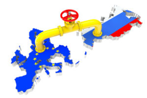 Gas pipeline over Russian and European Union maps on a white background