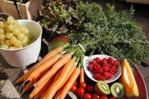 Fruits and vegetables. Carrots, raspberries, kiwi, melon, cherry tomatoes, grapes