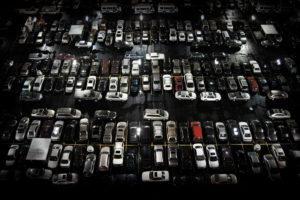 shot from above of cars parked in a pattern © Late Pixel