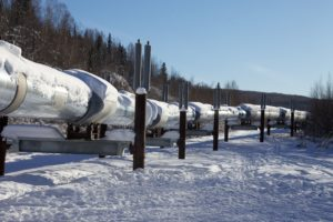 Oil pipeline in the snow © Malcolm Manners
