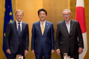 Donald Tusk, Shinzō Abe and Jean-Claude Juncker at G20