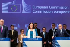 Phil Hogan, Cecilia Malmström, Jorge Marcelo Faurie at the conclusion of the Mercosur talks