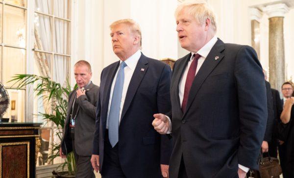 President Donald Trump and British PM Boris Johnson talk at the G7 Summit. Picture © Shealah Craighead