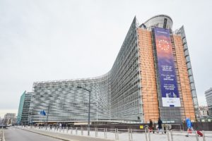 The Berlaymont building with a banner of the new Commission of Ursula von der Leyen