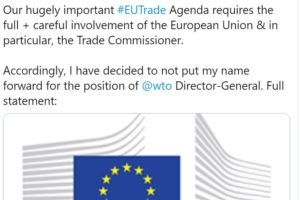 Hogan pulls out of WTO leadership race
