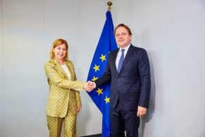 CssR Varhelyi receives Deputy Prime Minister of Ukraine, Madame Stefanishyna Olha, in his office.