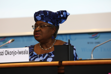 Ngozi Okonjo-Iweala during her hearing at the WTO General Council meeting in 2020. Credit: WTO.