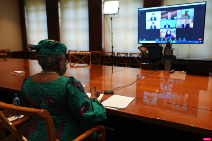The World Trade Organization's chief Ngozi Okonjo-Iweala in talks with members on means to defeat the COVID-19 pandemic. June 2021. Credit: WTO.